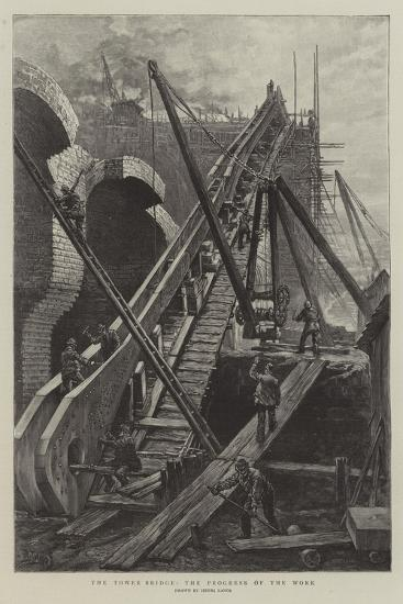 The Tower Bridge, the Progress of the Work-Henri Lanos-Giclee Print