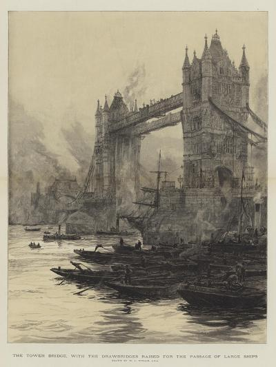 The Tower Bridge, with the Drawbridges Raised for the Passage of Large Ships-William Lionel Wyllie-Giclee Print