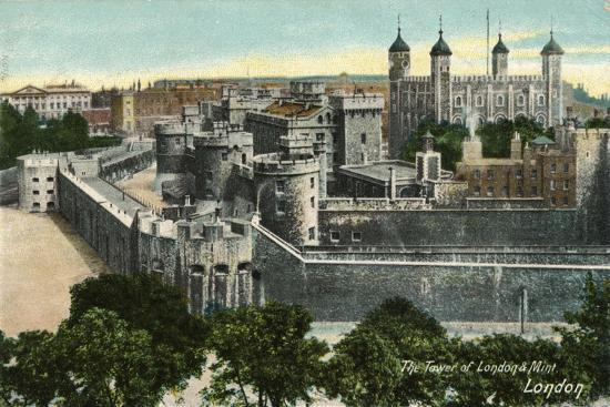 'The Tower of London & Mint, London', c1910-Unknown-Giclee Print
