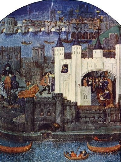 The Tower of London with London Bridge, C1500, (C1900-192)--Giclee Print