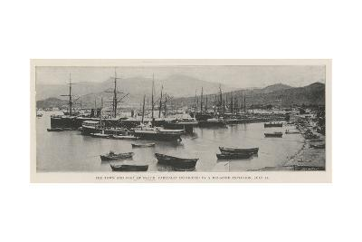 The Town and Port of Batum, Partially Destroyed by a Magazine Explosion, 25 July--Giclee Print