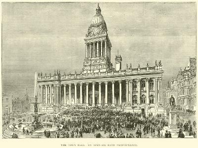 The Town Hall, an Open-Air Band Performance--Giclee Print