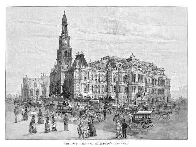 The Town Hall and St Andrew's Cathedral, Sydney, New South Wales, Australia, 1886--Giclee Print