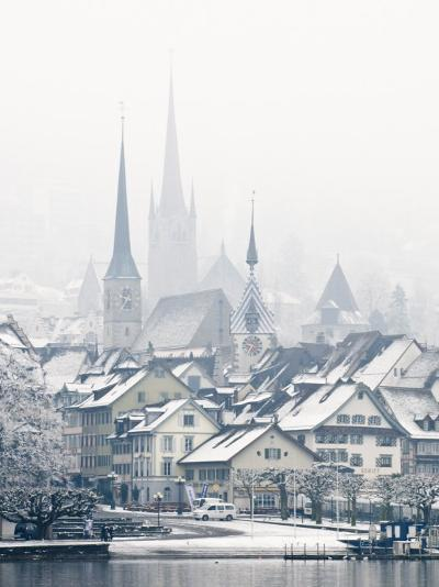 The Town of Zug on a Misty Winter Day, Zug, Switzerland, Europe-John Woodworth-Photographic Print