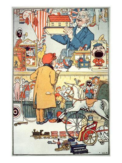 The Toy Shop, C.1910 (Colour Litho)-English-Giclee Print