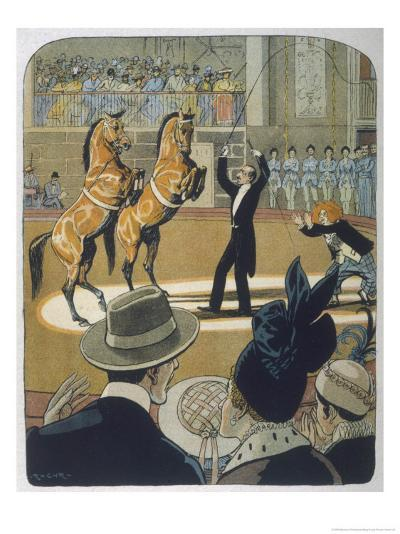 The Trainer Makes His Pair of Bay Horses Rear up in Front of the Audience-Rasmus Christiansen-Giclee Print