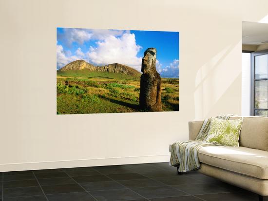The Travelling Moai and Rano Raraku Volcano-Peter Hendrie-Wall Mural