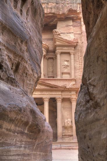 The Treasury as Seen from the Siq, Petra, Jordan, Middle East-Richard Maschmeyer-Photographic Print