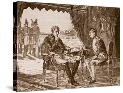 The Treaty of Tilsit, 1807, Illustration from 'Cassell's Illustrated History of England'--Stretched Canvas Print