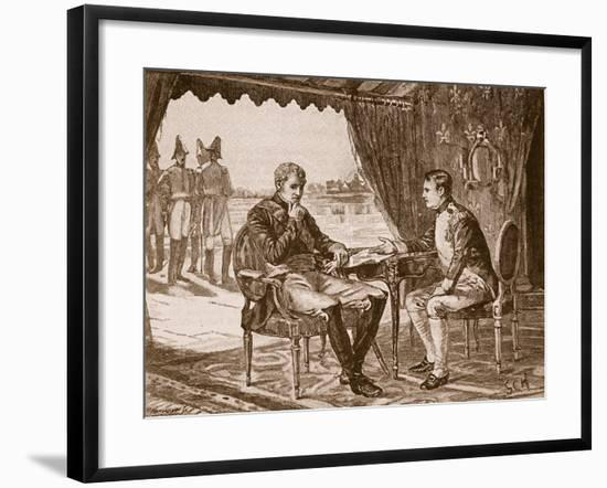 The Treaty of Tilsit, 1807, Illustration from 'Cassell's Illustrated History of England'--Framed Giclee Print