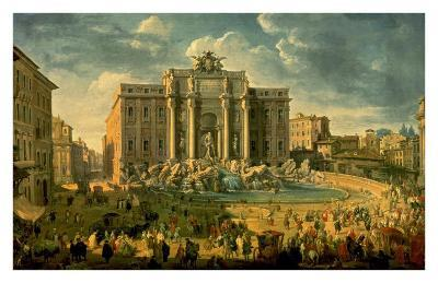 The Trevi Fountain in Rome-Giovanni Paolo Pannini-Art Print