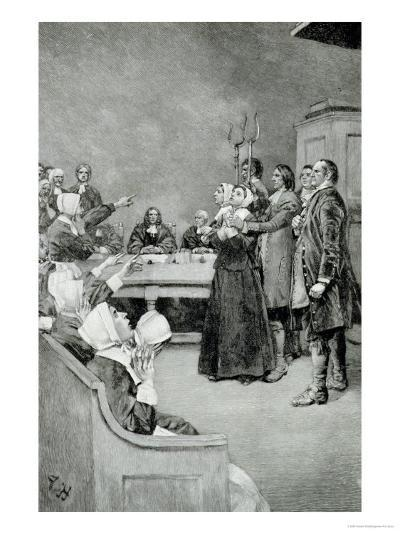 """The Trial of a Witch, from """"Giles Corey, Yeoman"""" by Mary E. Wilkins, Pub. in Harper's Magazine-Howard Pyle-Giclee Print"""