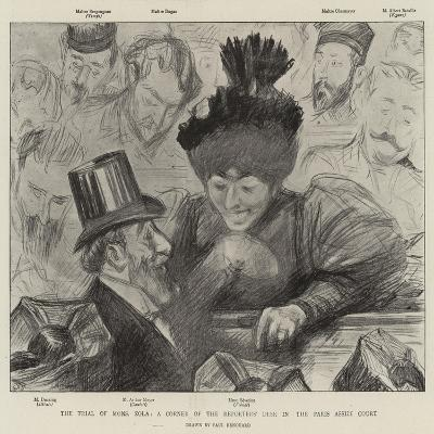 The Trial of Mons Zola, a Corner of the Reporters' Desk in the Paris Assize Court-Charles Paul Renouard-Giclee Print