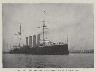 The Trial of the New First Class Cruiser Cressy, Leaving Portsmouth Harbour--Giclee Print