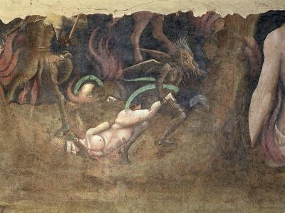 The Triumph of Death, Detail of a Devil Carrying Away a Sinner Into Hell, 1348-Andrea Di Cione Orcagna-Giclee Print