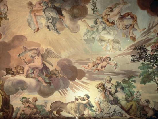 The Triumph of Peace Over War, Detail of the Heavens, from the Ceiling of the Main Hall-Anton Agelo Bonifazi-Giclee Print