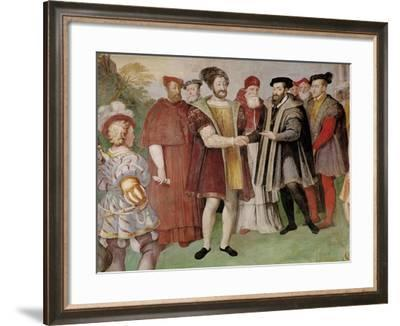 The Truce of Nice Between Francis I (1494-1547) and Charles V (1500-58)-Taddeo Zuccaro-Framed Giclee Print