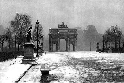 The Tuileries under Snow and the Carrousel Arch, Paris, 1931-Ernest Flammarion-Giclee Print