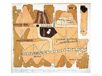 The Turin Papyrus, Reproduction of Ancient Egyptian Map of Gold Mines, c.1300 BC--Giclee Print
