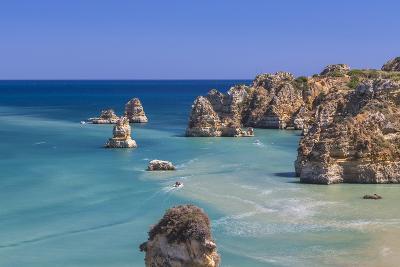 The Turquoise Water of the Atlantic Ocean and Cliffs Surrounding Praia Dona Ana Beach, Lagos-Roberto Moiola-Photographic Print