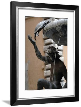 The Turtle Fountain. Detail. Turtle and Bronze Ephebe.16th Century. Rome. Italy-Giacomo della Porta-Framed Photographic Print