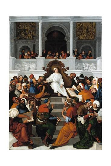 The Twelve-Year-Old Jesus Teaching in the Temple-Ludovico Mazzolino-Giclee Print