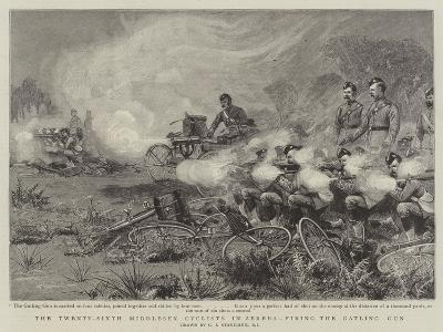The Twenty-Sixth Middlesex Cyclists in Zereba, Firing the Gatling Gun-Charles Joseph Staniland-Giclee Print