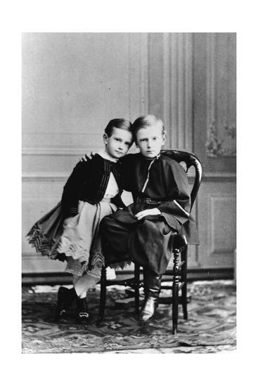 The Two Youngest Children of Tsar Alexander II and Maria Alexandrovna of Russia, C1863-C1865--Giclee Print