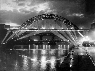 The Tyne Bridge Illuminated at Night circa 1969--Photographic Print