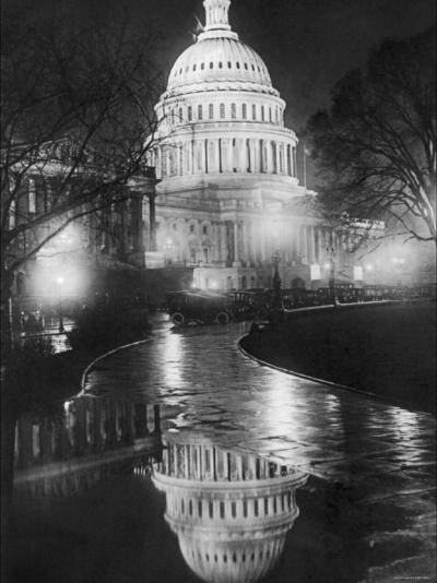 The U.S. Capitol Builing in a Light Night Rain--Photo