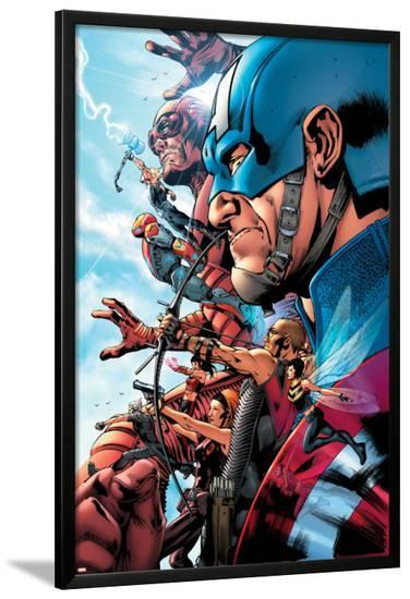 The Ultimates 2 No.1 Cover: Captain America-Bryan Hitch-Lamina Framed Poster