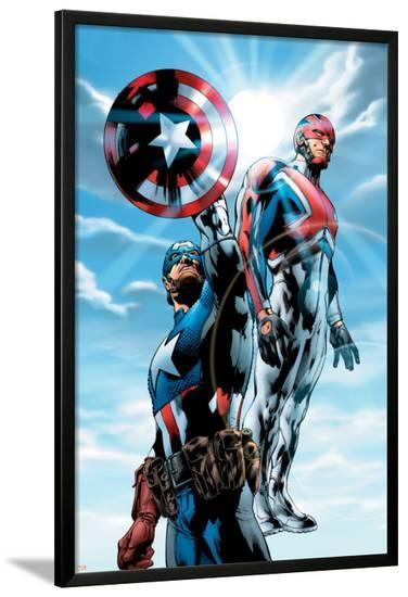 The Ultimates No.4 Cover: Captain America and Captain Britain Charging-Bryan Hitch-Lamina Framed Poster
