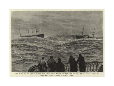 The Umbria Disabled in Mid-Atlantic, the Manhansett Steaming Off on the Arrival of the Gallia--Giclee Print