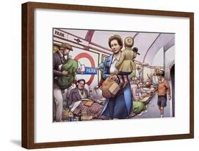 The Underground During the Blitz-Pat Nicolle-Framed Giclee Print