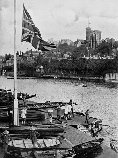 The Union Jack Flying Half Mast at the Eton College Boathouse, Berkshire, 1910--Giclee Print