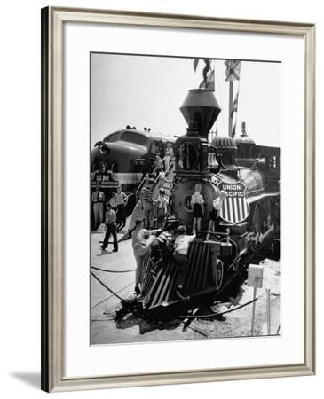 The Union Pacific No. 18 built in 1874 displayed at the Chicago Railroad Fair-George Skadding-Framed Photographic Print
