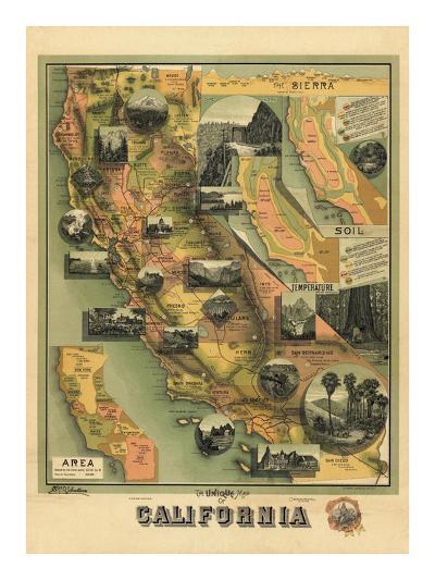 The Unique Map of California, c.1885-E^ M^ Johnstone-Art Print