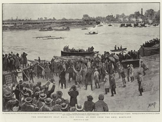 The University Boat Race, the Finish, as Seen from Ship, Mortlake-Henry Marriott Paget-Giclee Print
