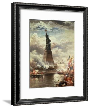 Unveiling The Statue of Liberty  by Edward Moran  Paper Print Repro