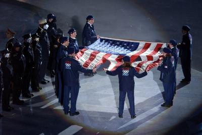 The Us Olympic Team Holds the American Flag That Flew over the Ground Zero--Photo