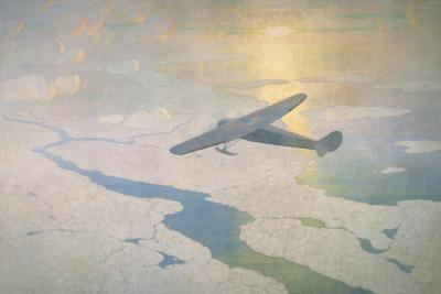 The Valiant Byrd Airplane Soars under the Glow of the Midnight Sun-Newell Convers Wyeth-Giclee Print