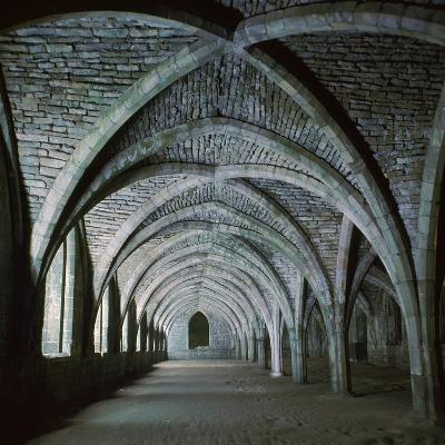 The Vaults in the Cellarium of Fountains Abbey, 12th Century-CM Dixon-Photographic Print
