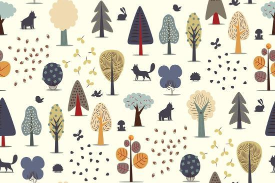 The Vector Illustrated Seamless Pattern of Flat Forest Elements - Various Trees, Wild Animals and S- Airibis-Art Print