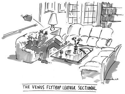 The Venus Flytrap Leather Sectional - New Yorker Cartoon-Michael Crawford-Premium Giclee Print