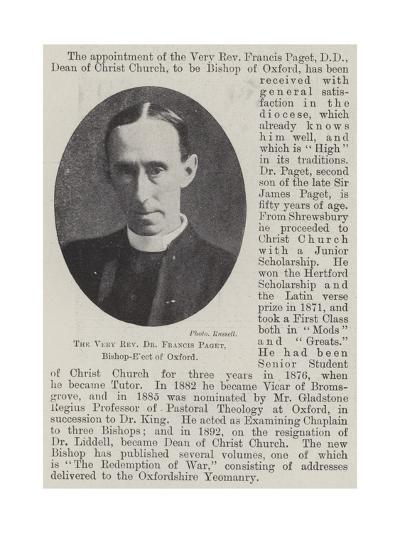 The Very Reverend Dr Francis Paget, Bishop-Elect of Oxford--Giclee Print