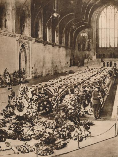 The victims of the R101 airship disaster lying in state in Westminster Hall, London, 1930 (1935)-Unknown-Photographic Print