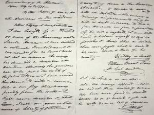 The Victory of Death Letter Written by the Alamo Commander William Barret Travis, 1836
