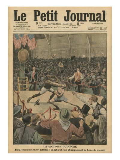 The Victory of the Negro, Jack Johnson Knocks Jim Jeffries Out at the World Boxing Championship-French School-Giclee Print
