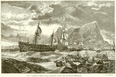 """The """"Victory"""" Towed into Gibraltar after the Battle of Trafalgar--Giclee Print"""
