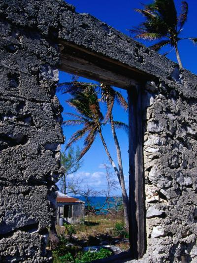 The View from an Abandoned Old Settlement Building by the Shore, Cat Island, Bahamas-Greg Johnston-Photographic Print